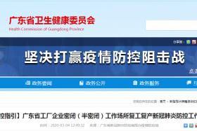 广东省工厂企业密闭(半密闭)工作场所复工复产新冠肺炎防控工作指引